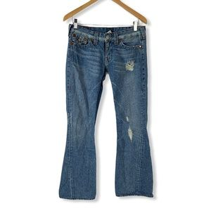 True Religion Distressed Flared Jeans